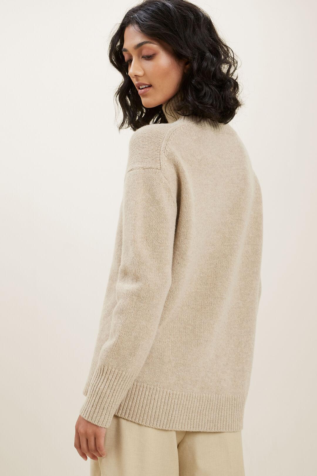 High Neck Wool Sweater  Champagne Beige Marle  hi-res