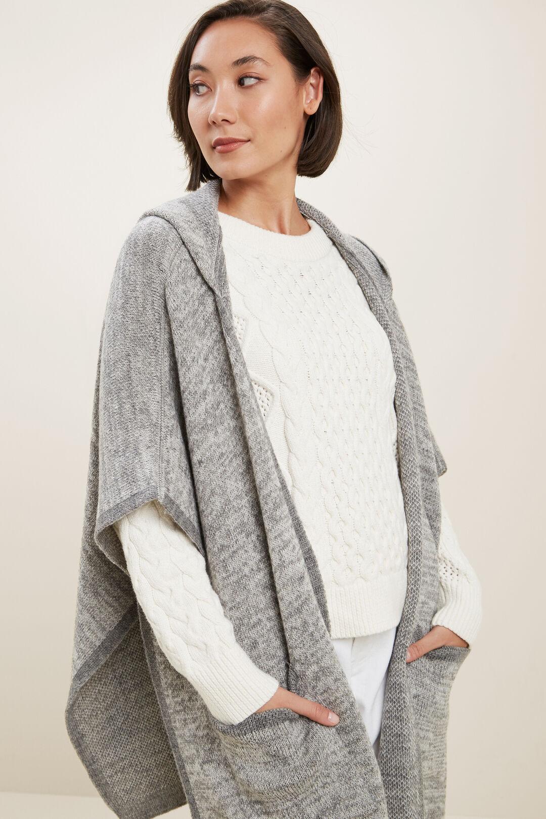 Hooded Knit Poncho  Grey Marle  hi-res