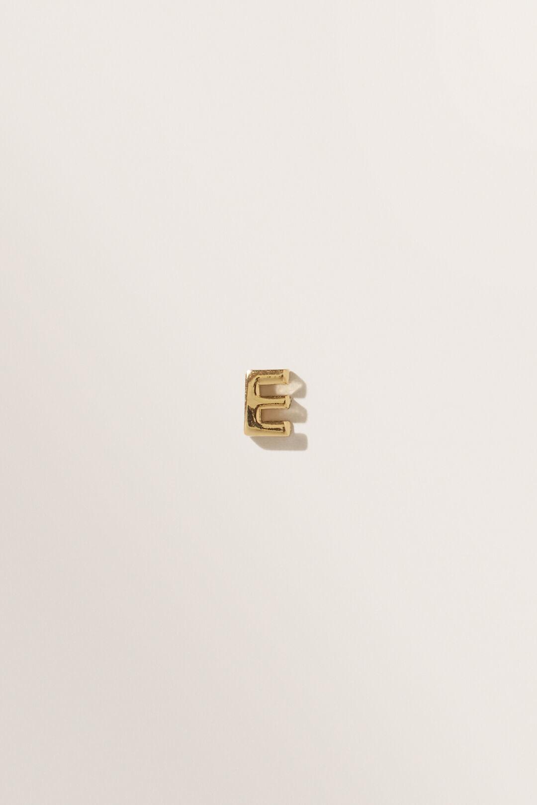 Gold Initial Charm  E  hi-res