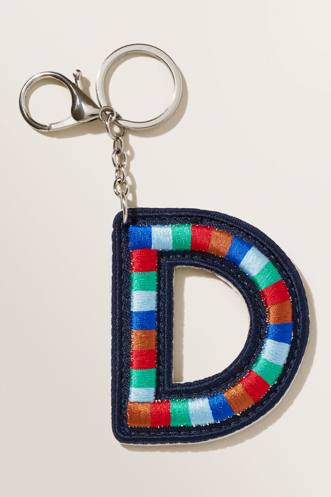 Embroidered Initial Keyring  D  hi-res