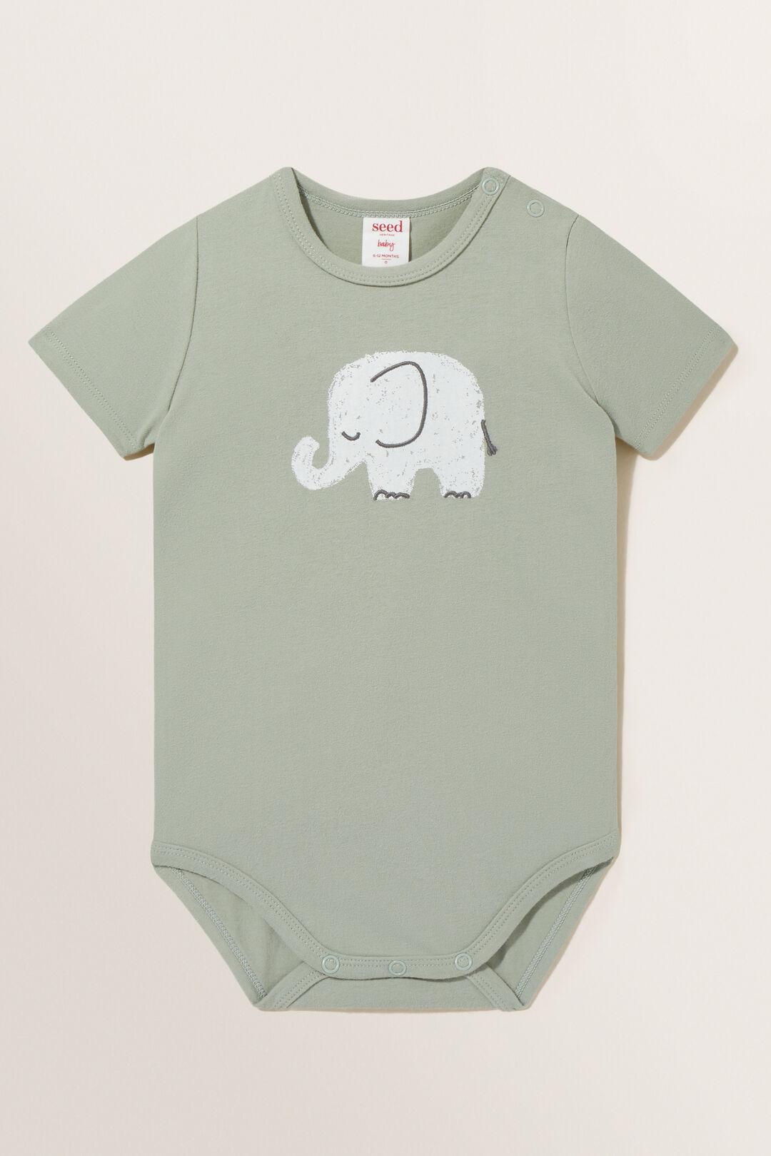 Elephant Bodysuit  Olive Leaf  hi-res