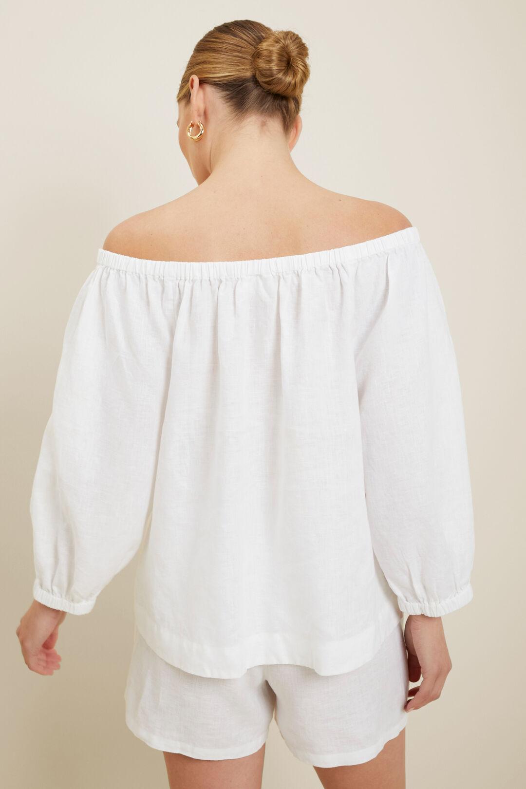 Linen Peasant Top  Whisper White  hi-res