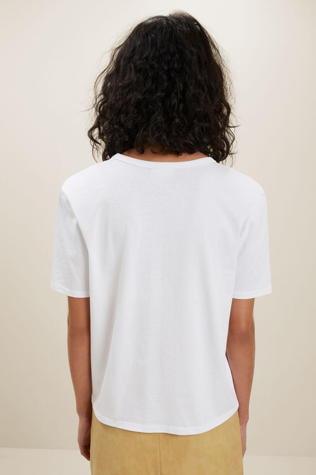 V Neck Shoulder Pad Tee  Whisper White  hi-res