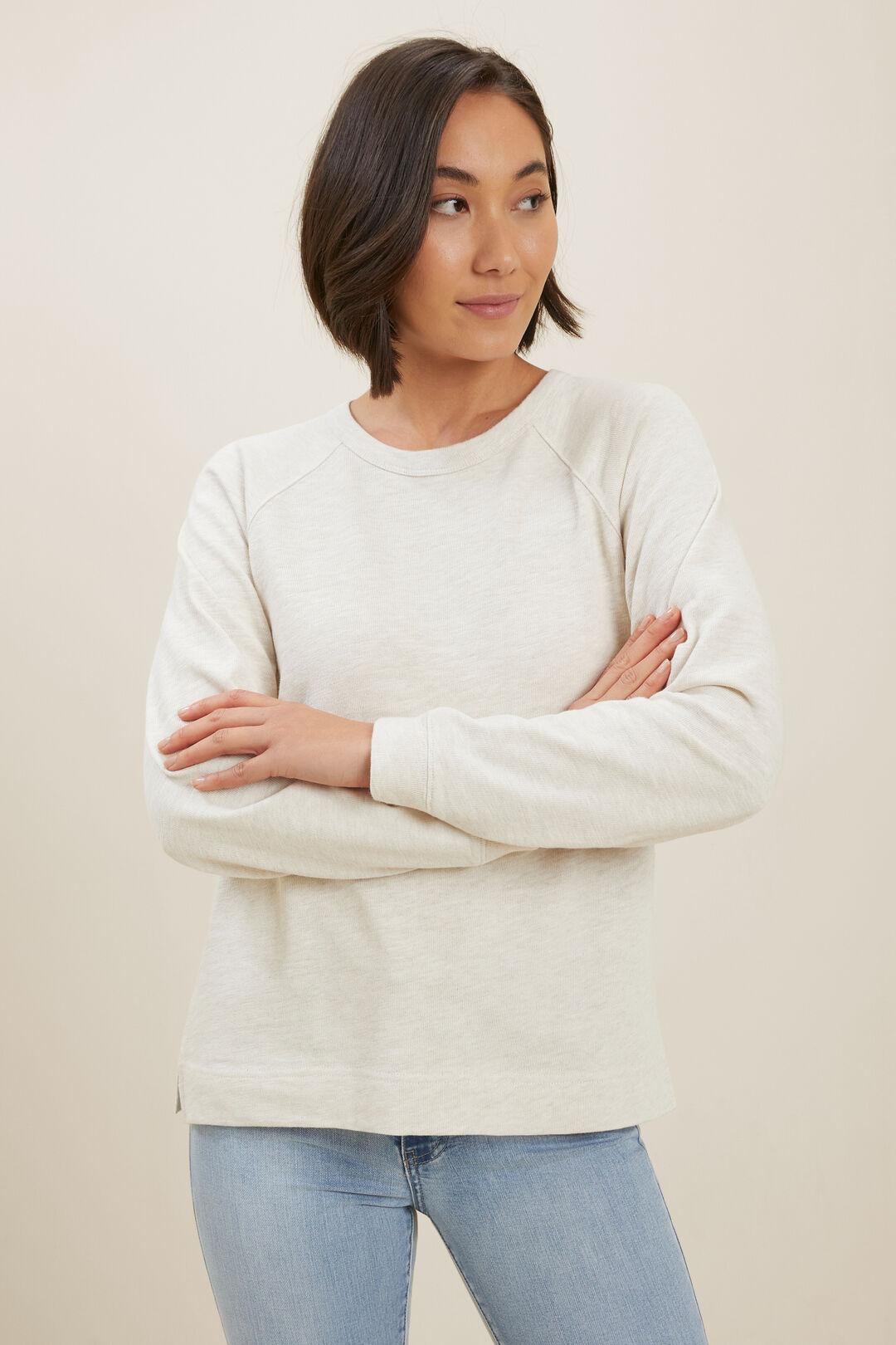 Cotton Slub Sweater  Cloud Cream Marle  hi-res
