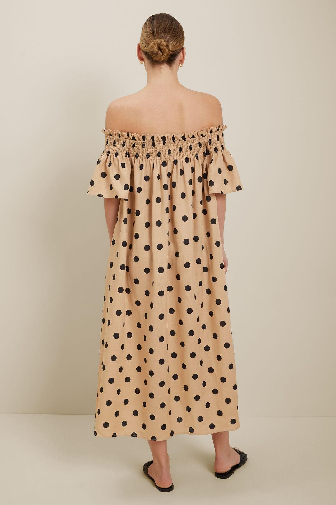 Spot Linen Maxi Dress  Neutral Sand Spot  hi-res