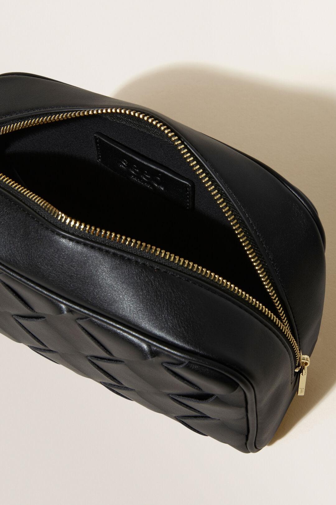 Large Woven Cosmetic Bag  Black  hi-res