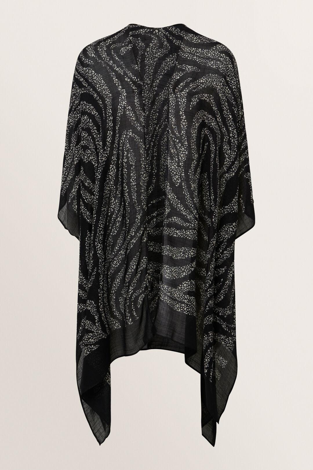 Abstract Zebra Poncho  Black Stone  hi-res