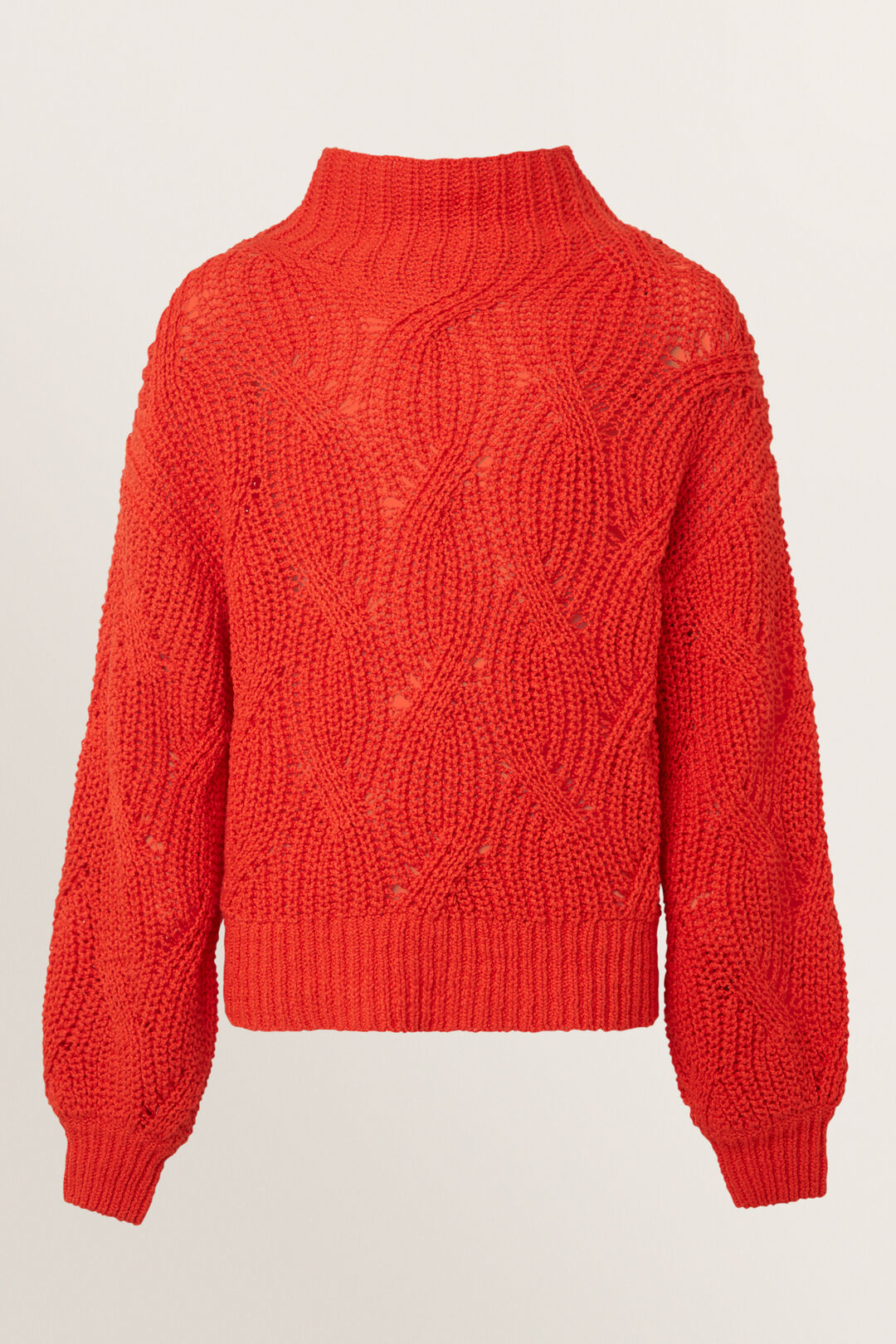 Cable Sweater  Scarlet Red  hi-res