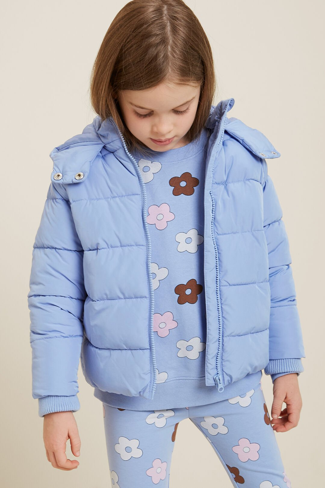Sporty Puffer Jacket  Bluebell  hi-res