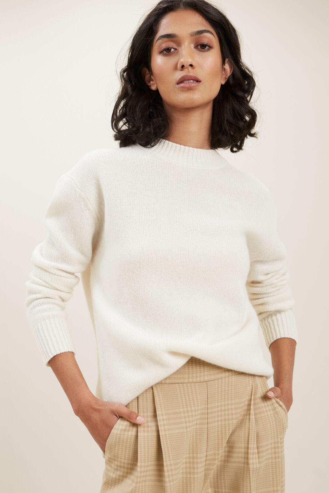 Crew Neck Wool Sweater  Cloud Cream  hi-res