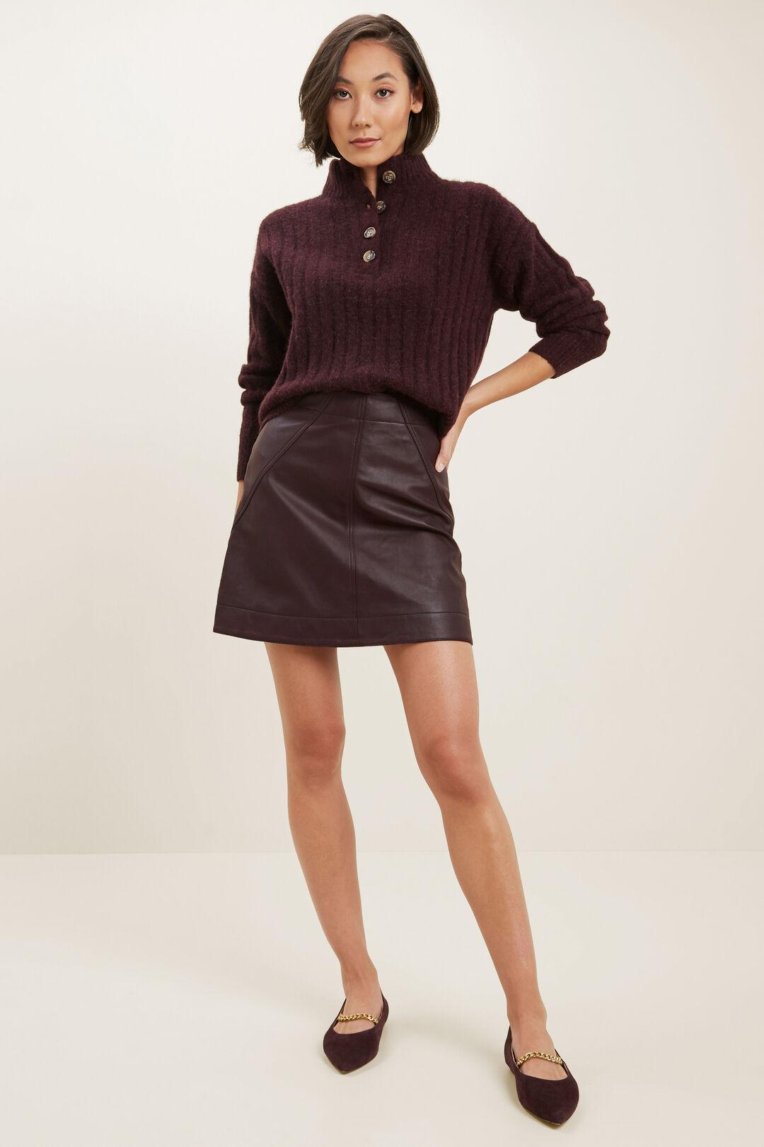 Rib Collared Sweater  Ruby Plum  hi-res