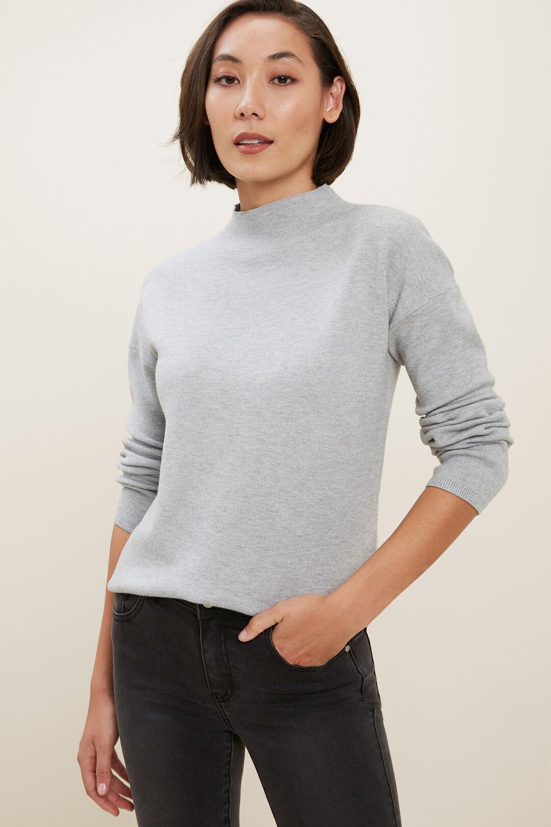 Mock Neck Sweater  Dim Grey Marle  hi-res