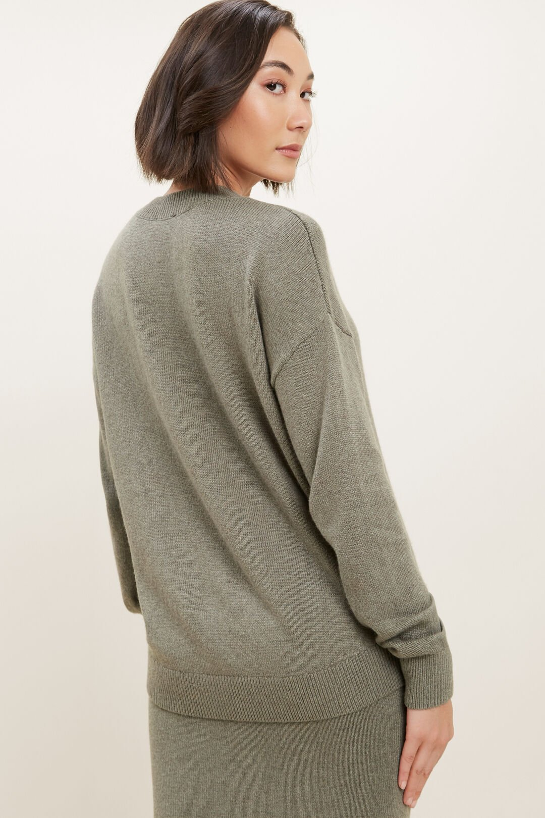 Relaxed Knit Sweater  Olive Khaki Marle  hi-res