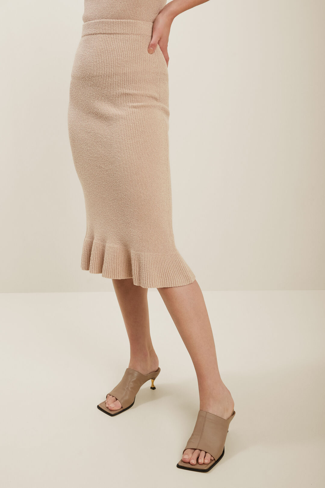 Boucle Knit Skirt  Biscotti  hi-res