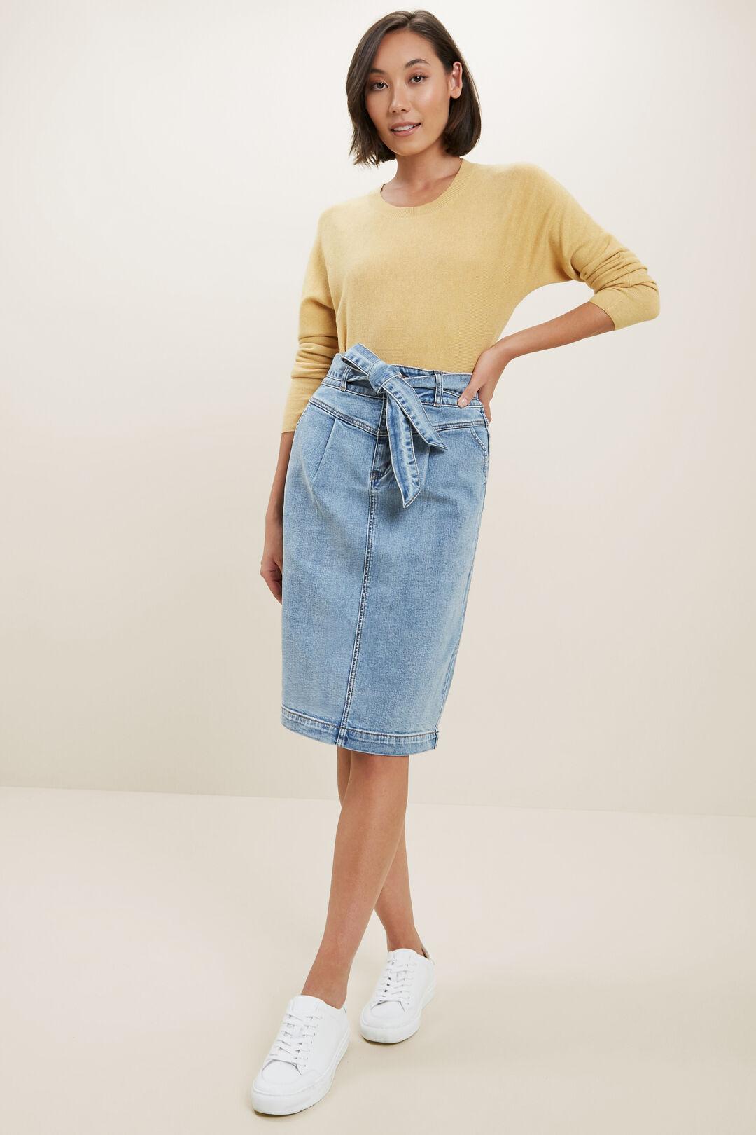 Denim Tie Waist Skirt  Mid Vintage Wash  hi-res