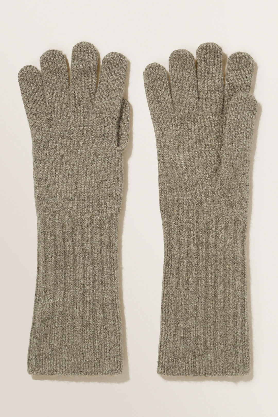Rib Knit Gloves  Olive Khaki Marle  hi-res