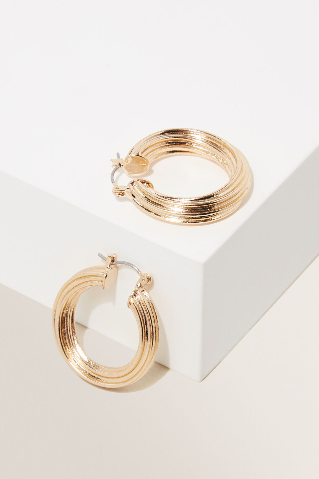 Wave Twisted Hoops  Gold  hi-res