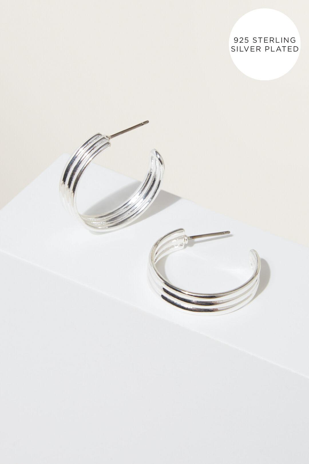 Fine Medium Rib Hoops  Silver  hi-res