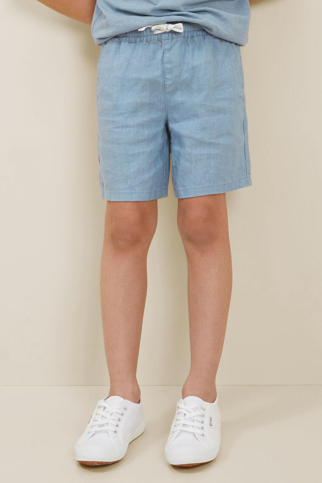 Child LinenShorts  Steel Blue  hi-res