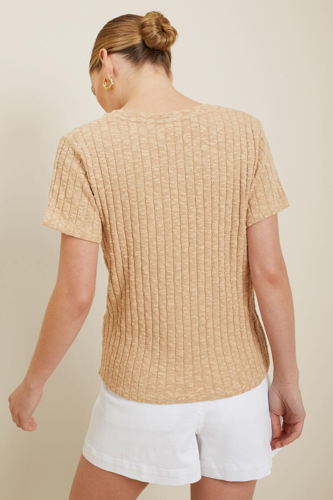 Textured U Neck Tee  Neutral Sand  hi-res