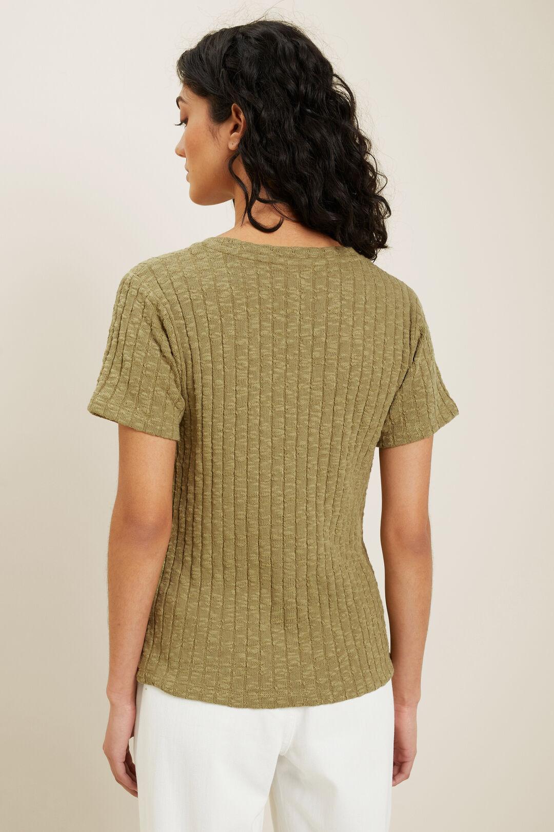 Textured U Neck Tee  Sage Green  hi-res
