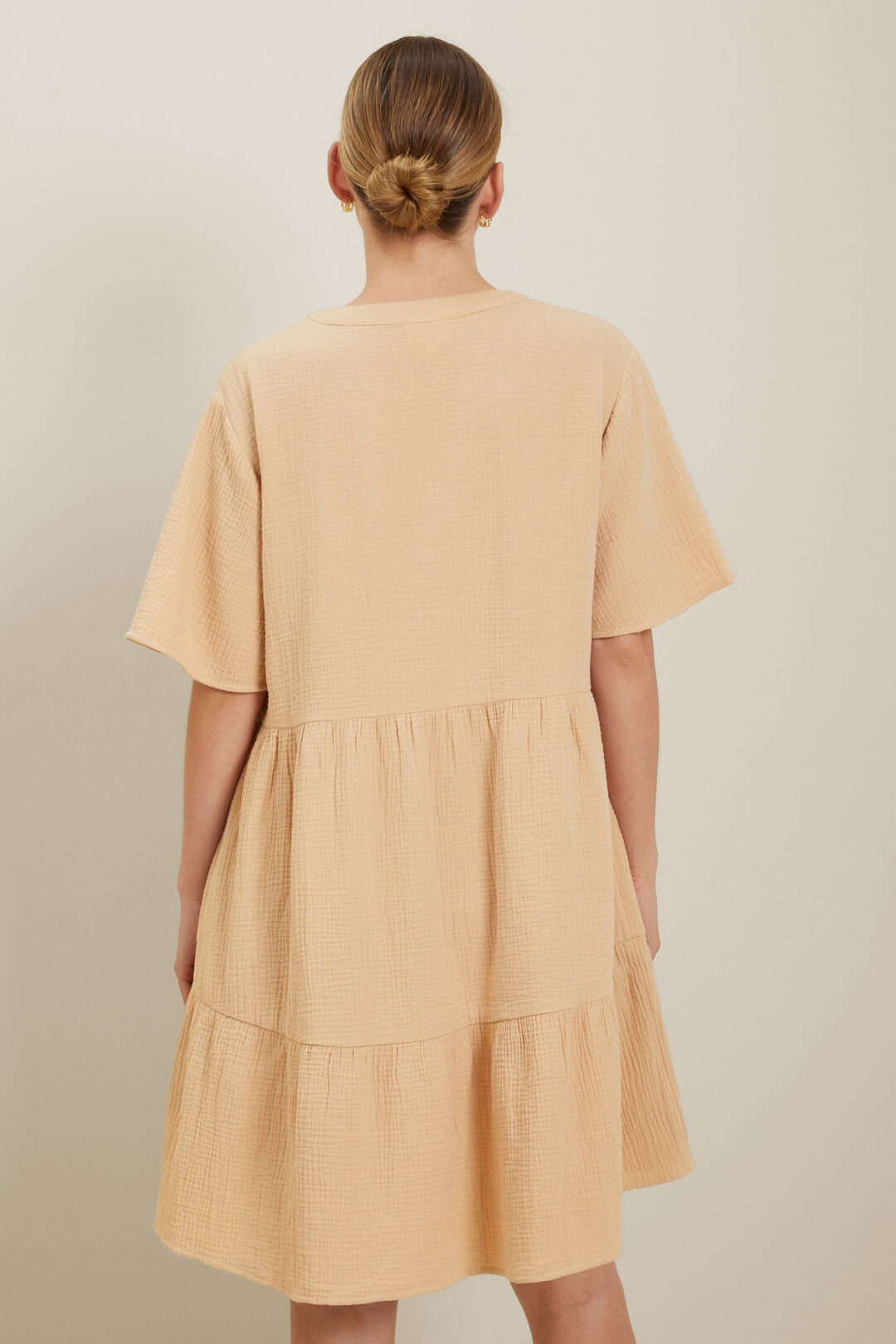 Tiered V Neck Mini Dress  Neutral Sand  hi-res