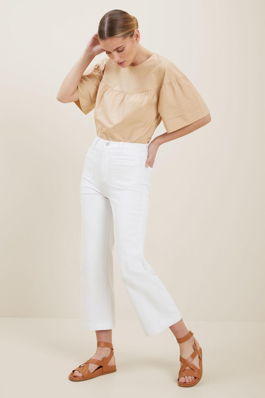 Front Pocket Crop Jeans  White  hi-res