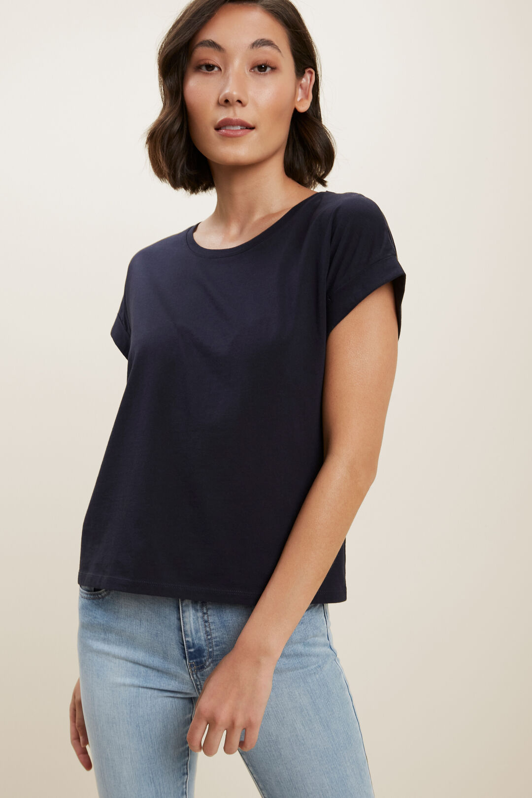 Core Rolled Cuff Tee  Deep Navy  hi-res