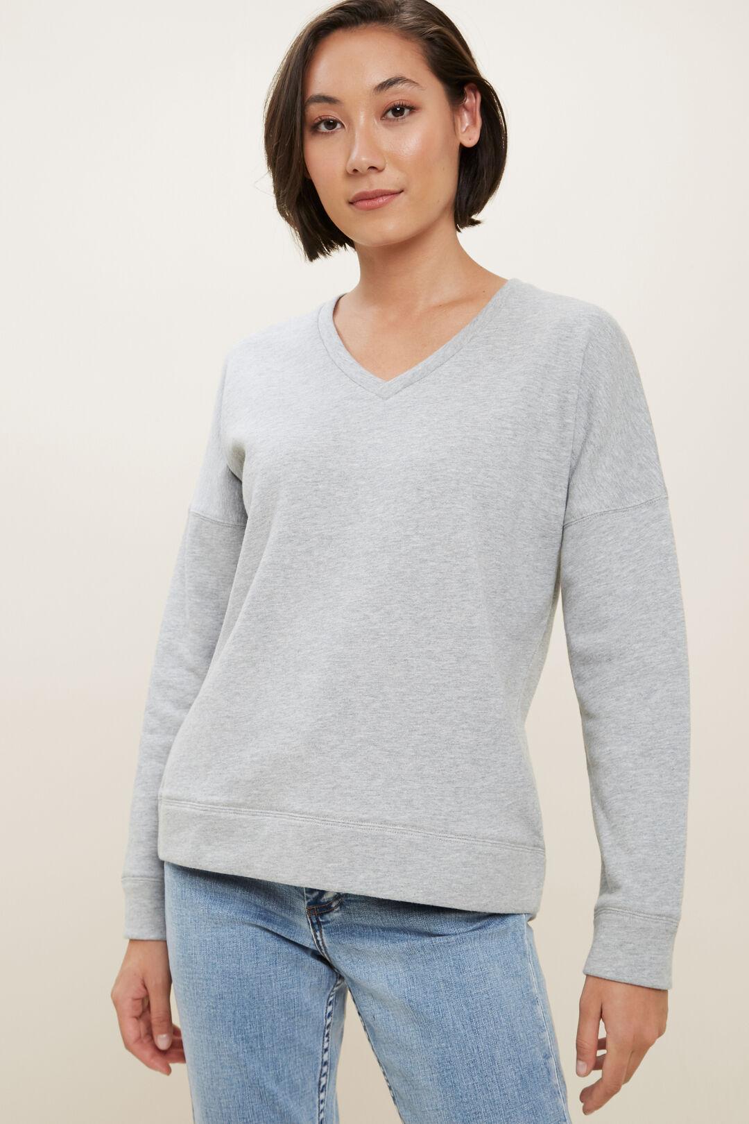 Clean V Neck Sweater  Dim Grey Marle  hi-res