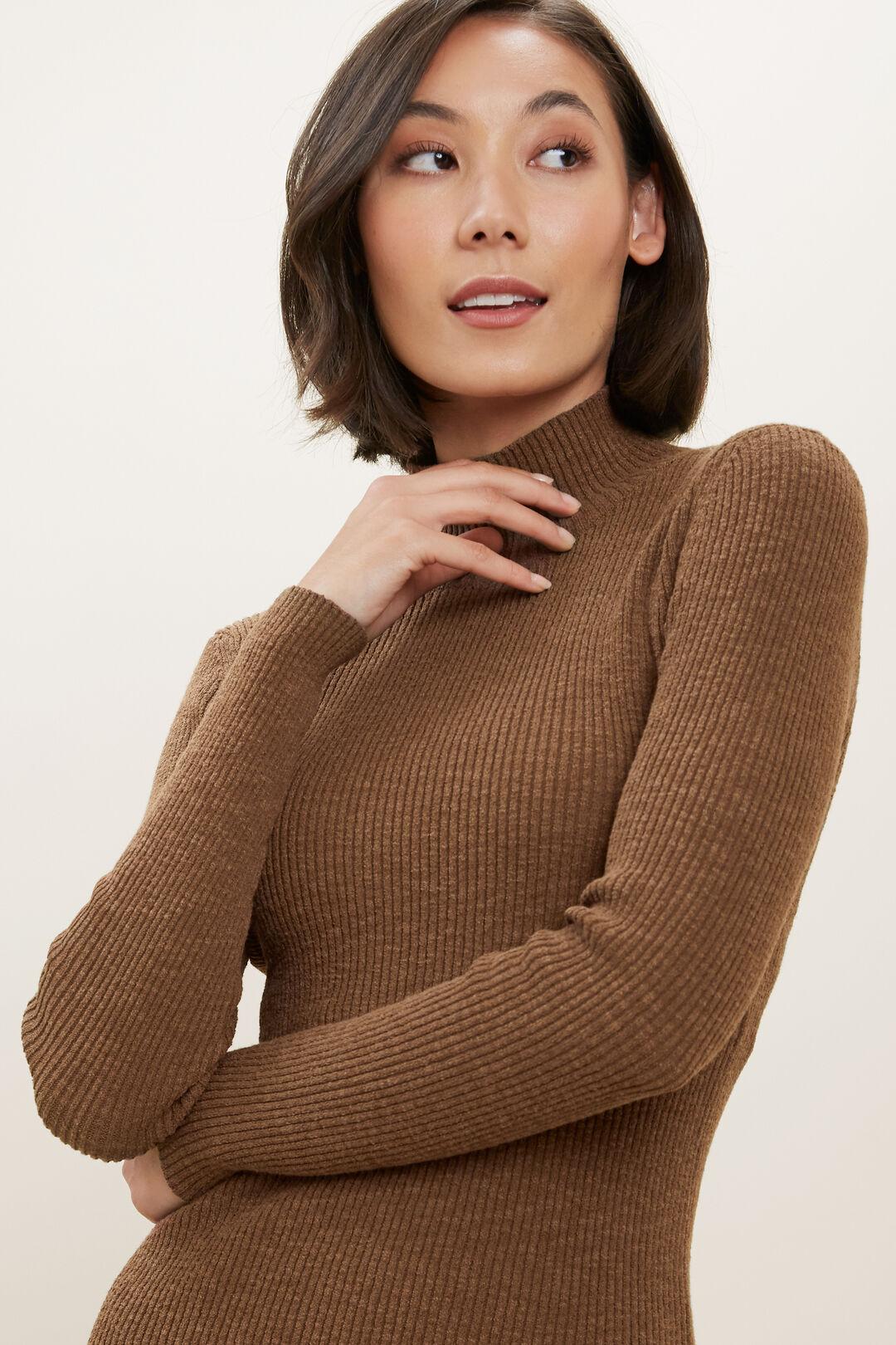 High Neck Rib Sweater  Molasses  hi-res