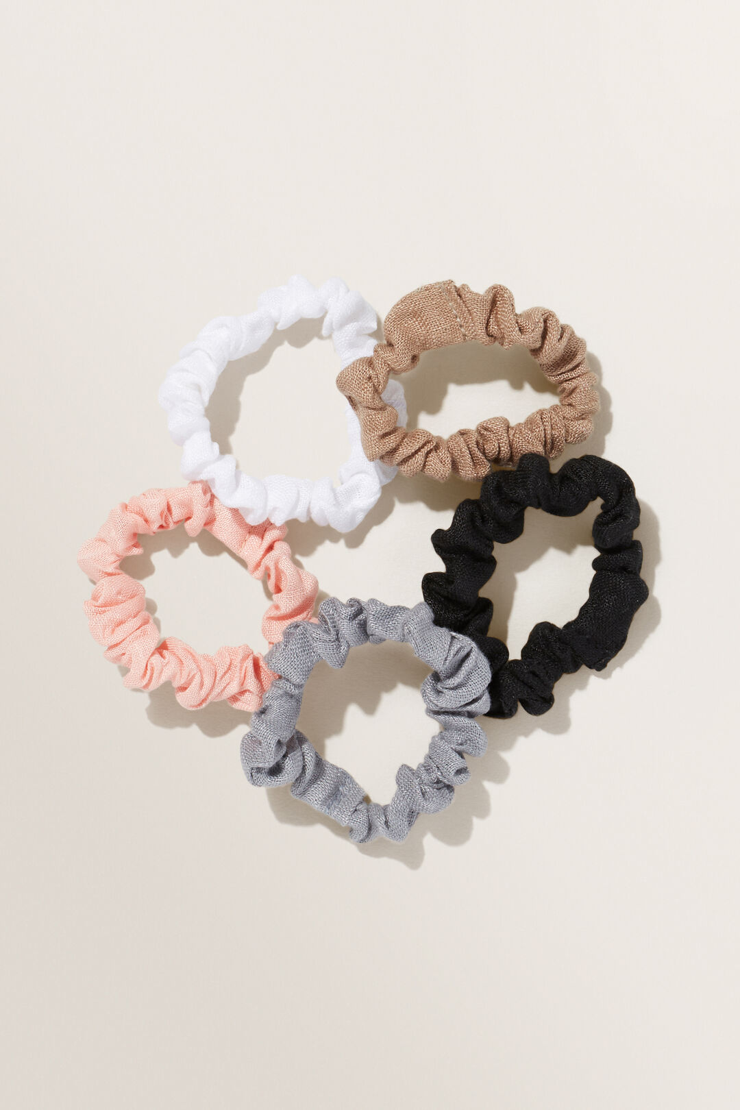 Linen Mini Scrunchies  Pink  hi-res