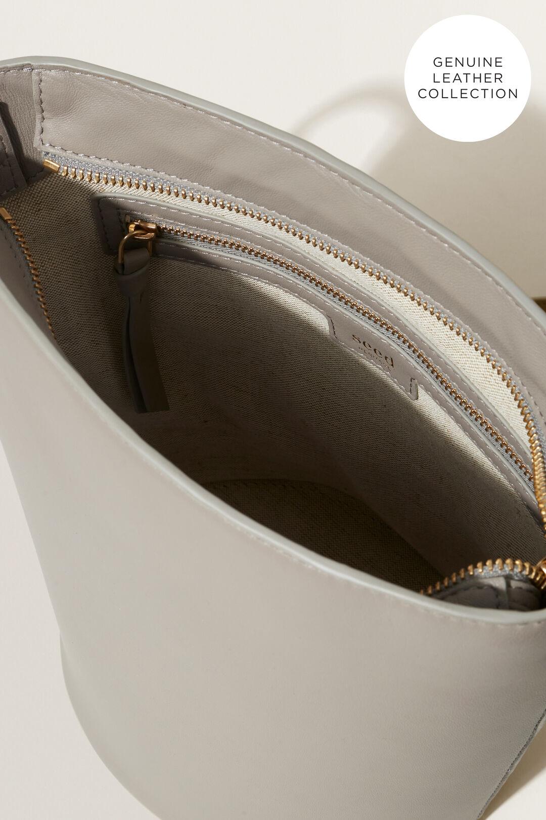 Leather Bucket Bag  Grey  hi-res