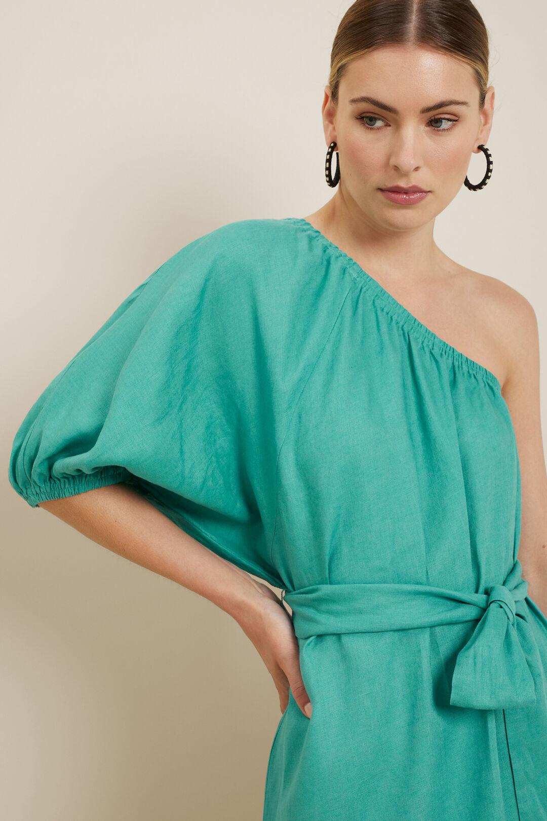 Linen One Shoulder Dress  Deep Aqua  hi-res