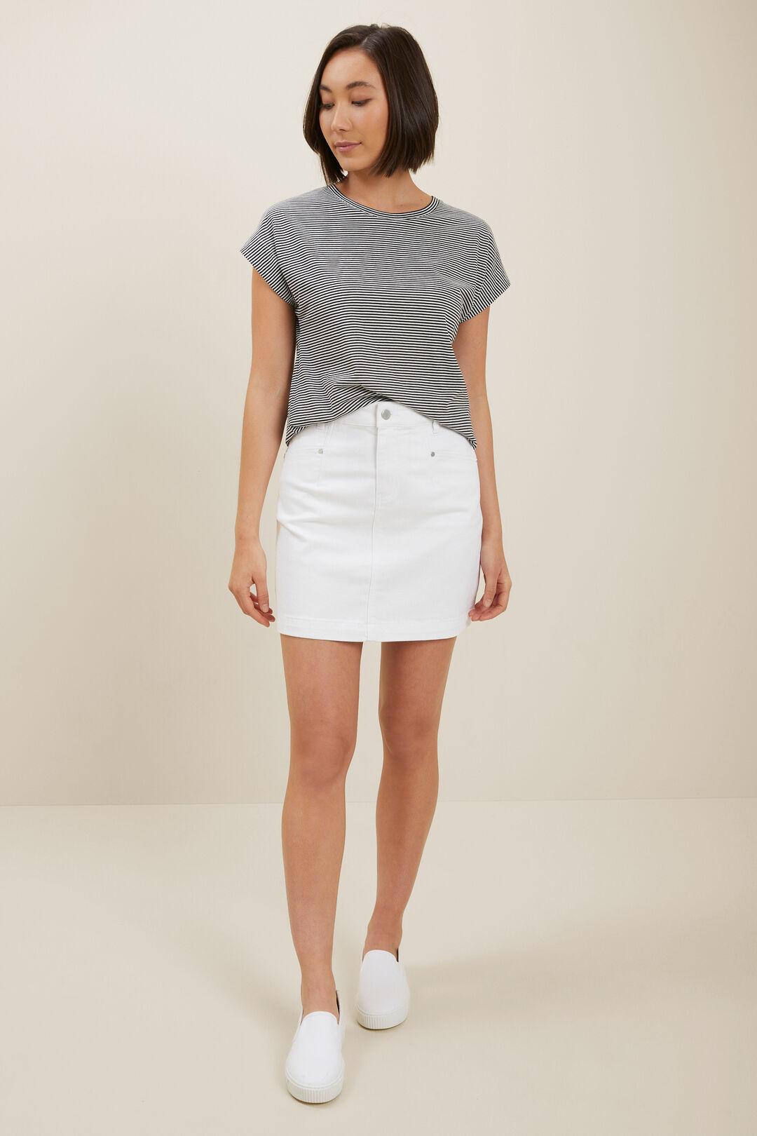 Core Denim A-Line Mini Skirt  White  hi-res