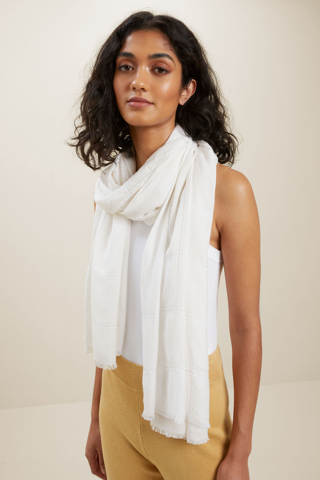 Textured Wool Blend Scarf  French Vanilla  hi-res