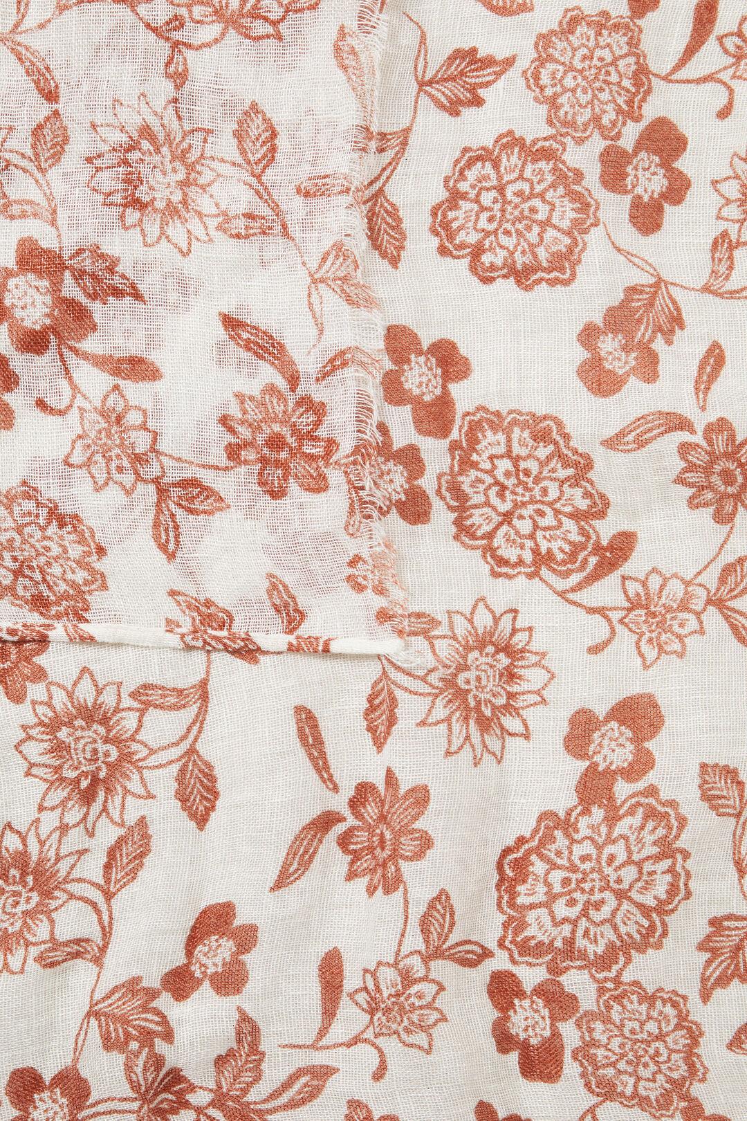 Linen Floral Scarf  Cloud Cream Multi  hi-res