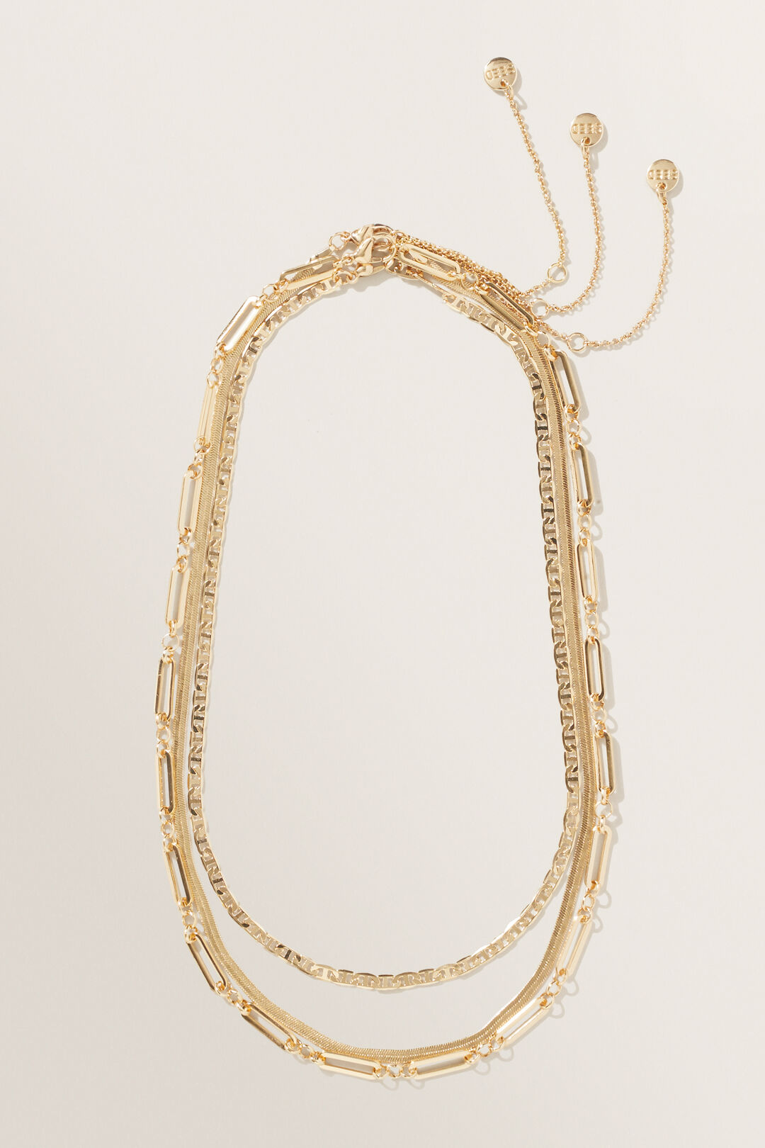 Paper Clip Chain Necklace  Gold  hi-res