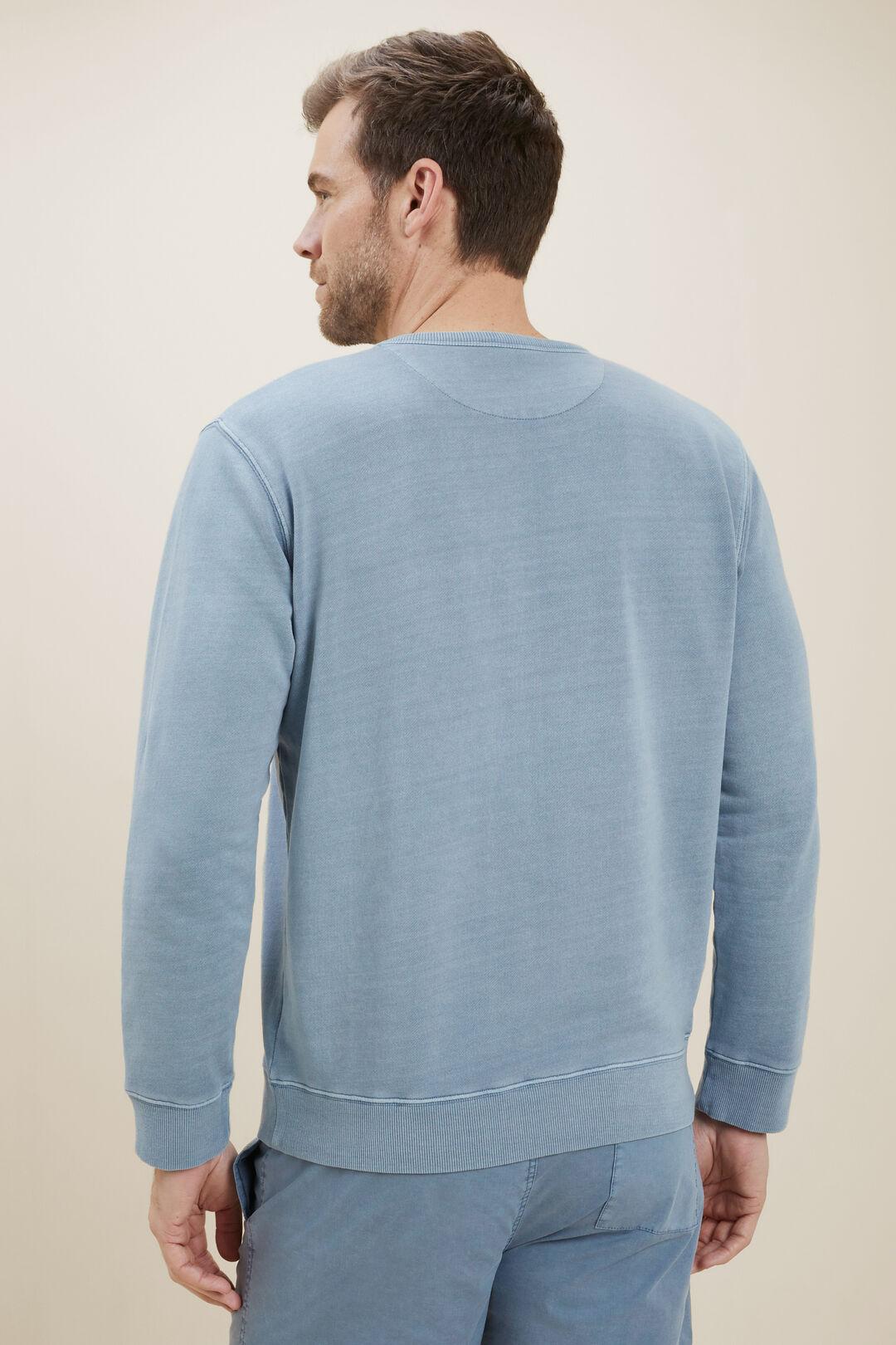 MensCotton Sweater  Steel Blue  hi-res
