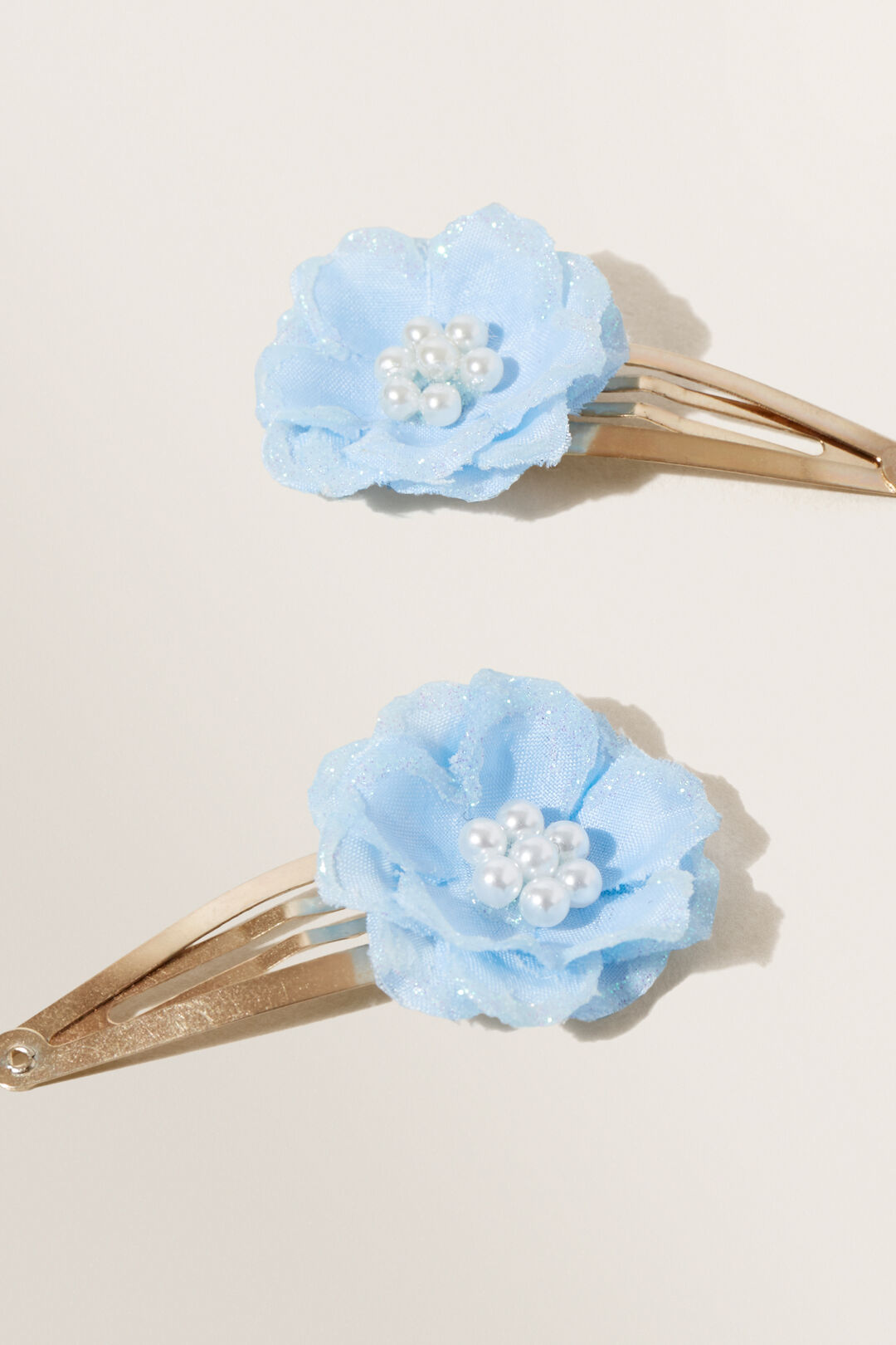 Party Flower Snap Clips  Baby Blue  hi-res