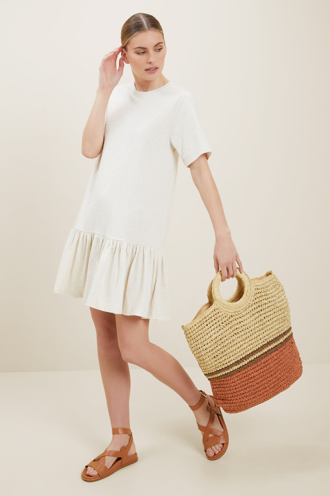 Jersey Tiered Dress  Cloud Cream Marle  hi-res