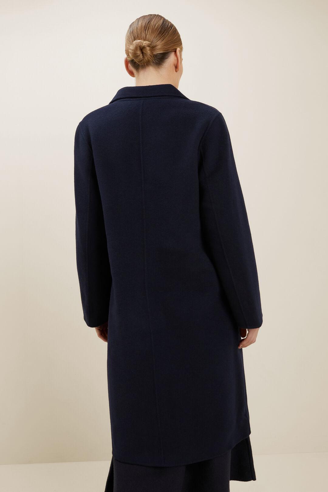 Wool Longline Coat  Deep Navy  hi-res