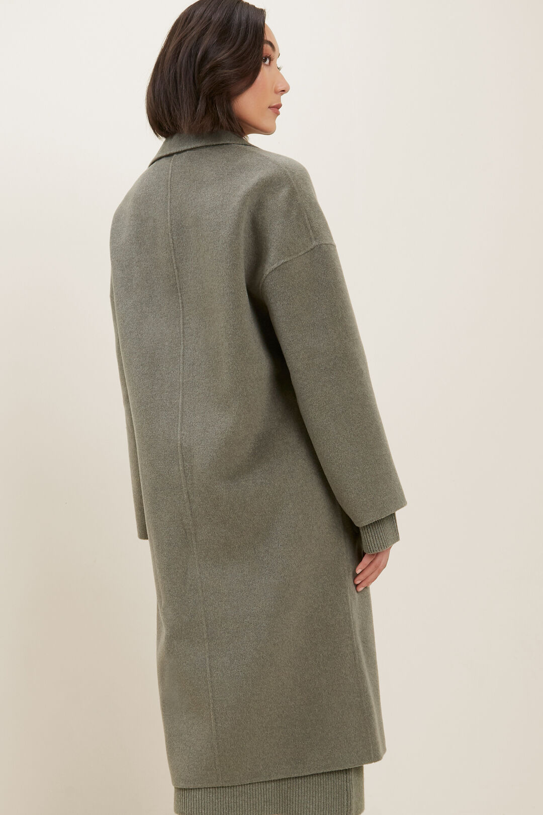 Wool Boyfriend Coat  Olive Khaki Marle  hi-res