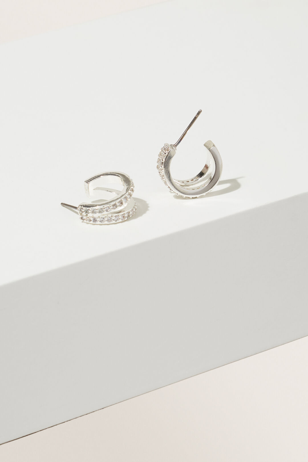 Fine Double Diamante Hoops  Silver  hi-res