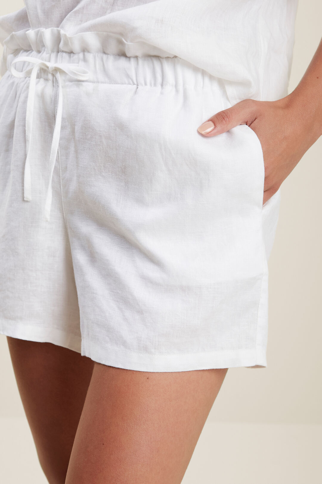 Core Linen Tie Up Short  Whisper White  hi-res