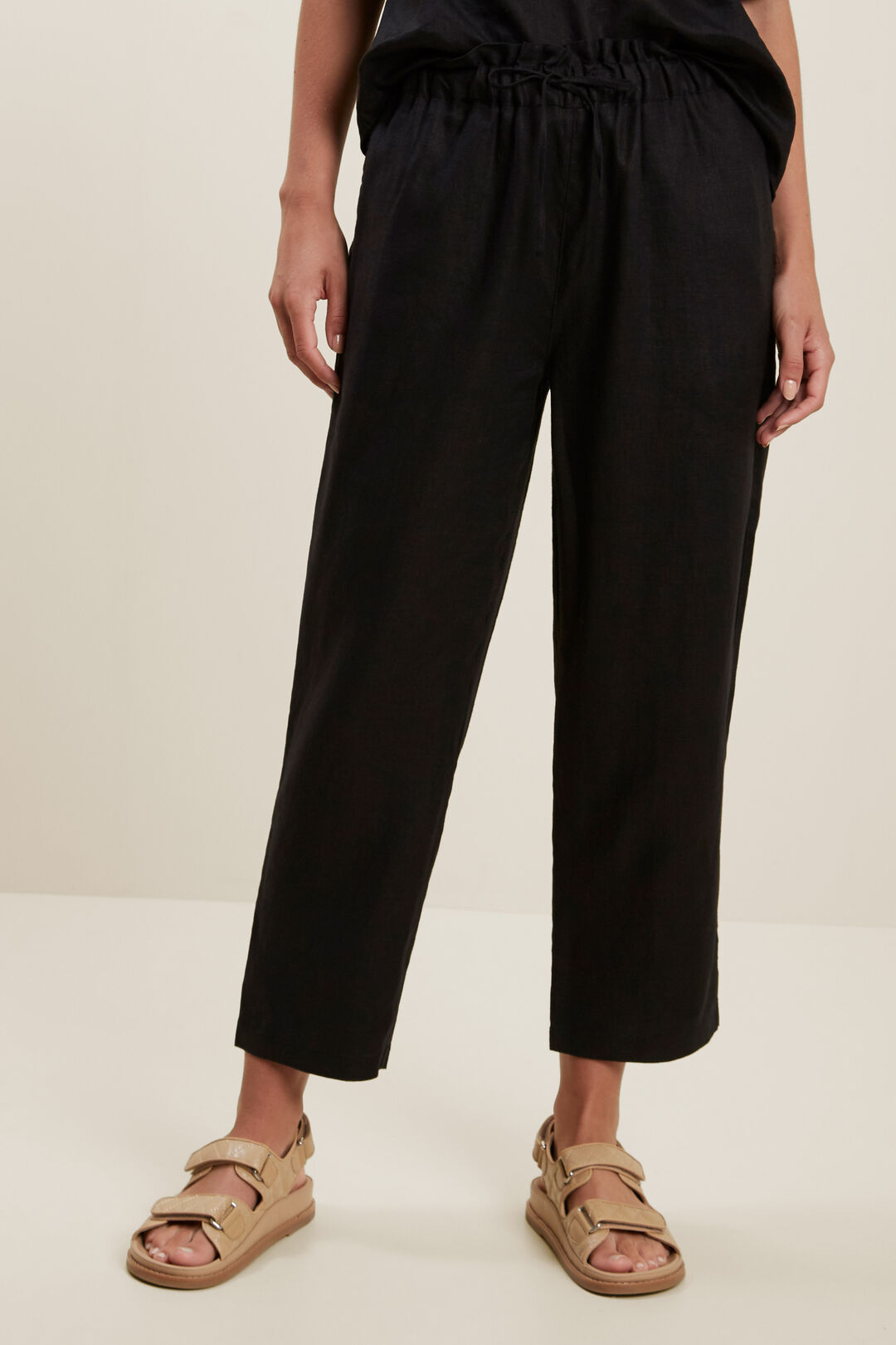Core Linen Tie Up Pant  Black  hi-res