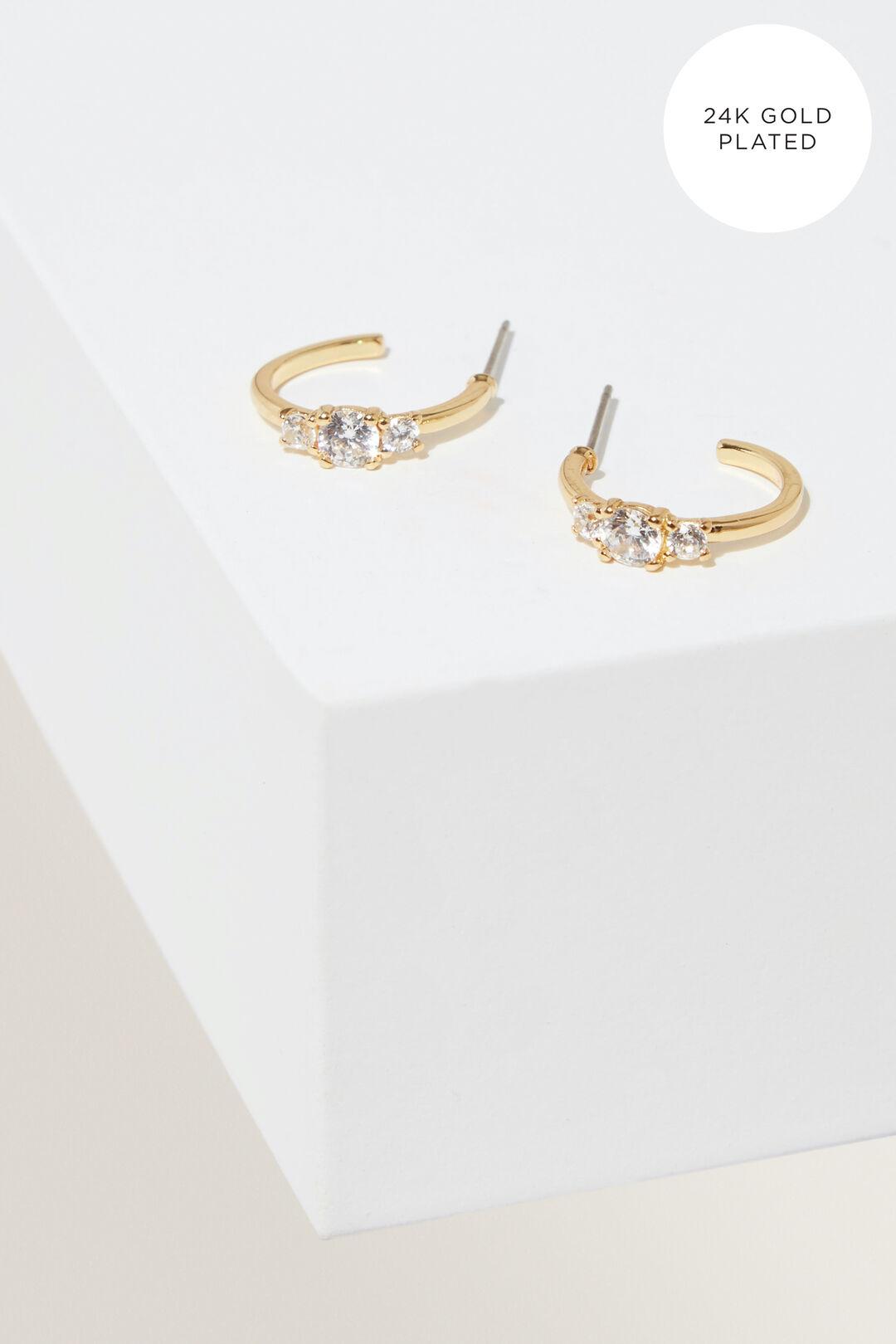 Fine Diamante Detail Hoops  Gold  hi-res