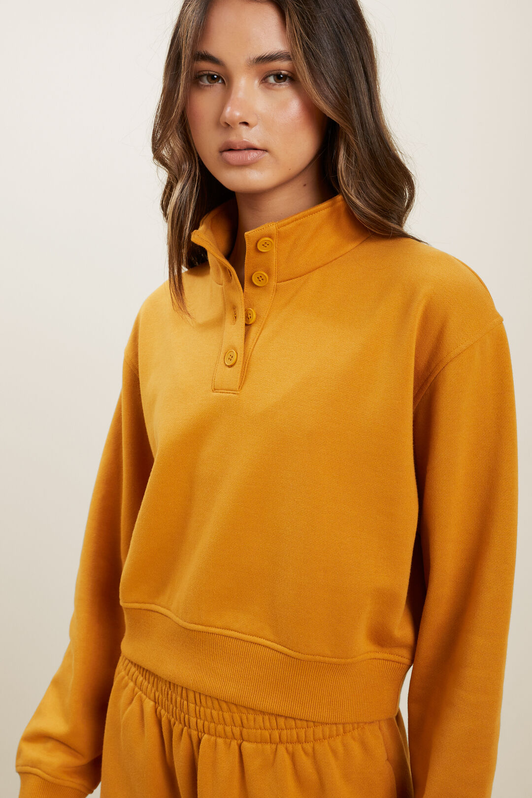 Button Sweater  Mustard Gold  hi-res
