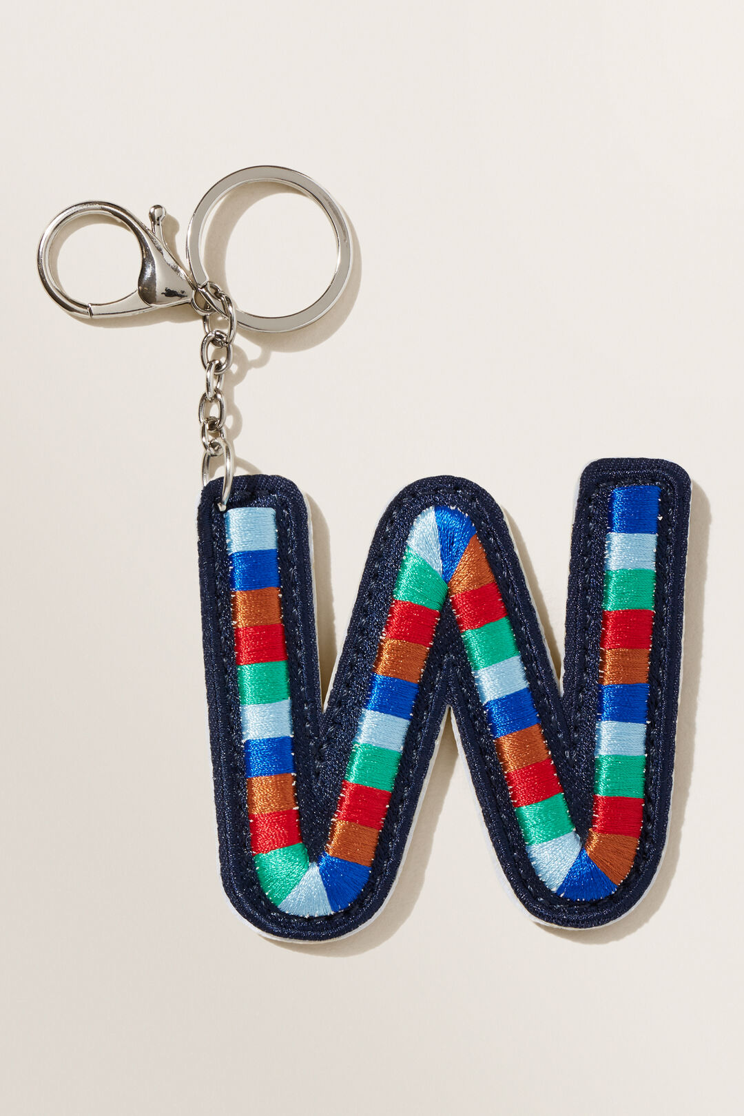 Embroidered Initial Keyring  W  hi-res