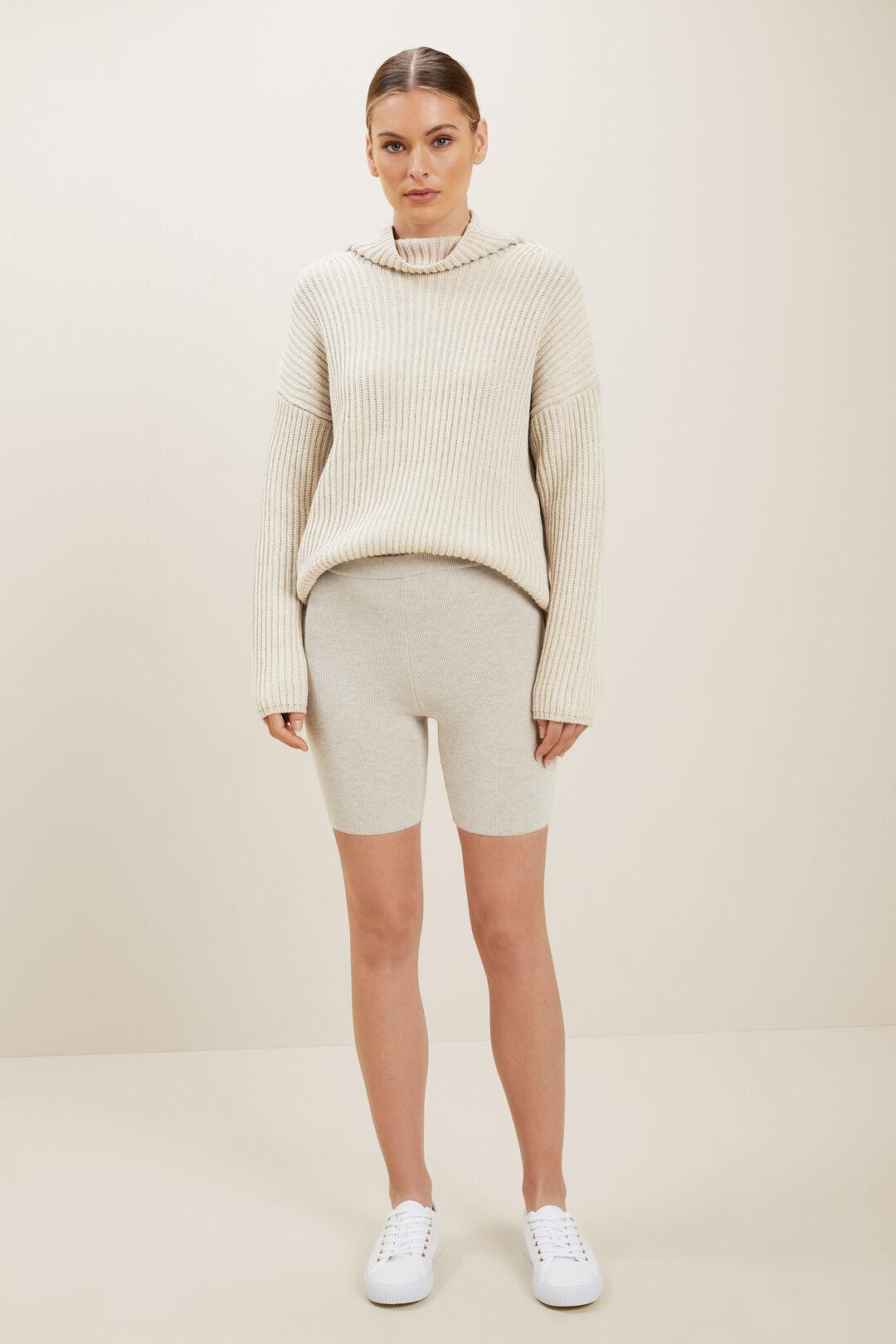 Merino Wool Rib Shorts  Neutral Blush Marle  hi-res