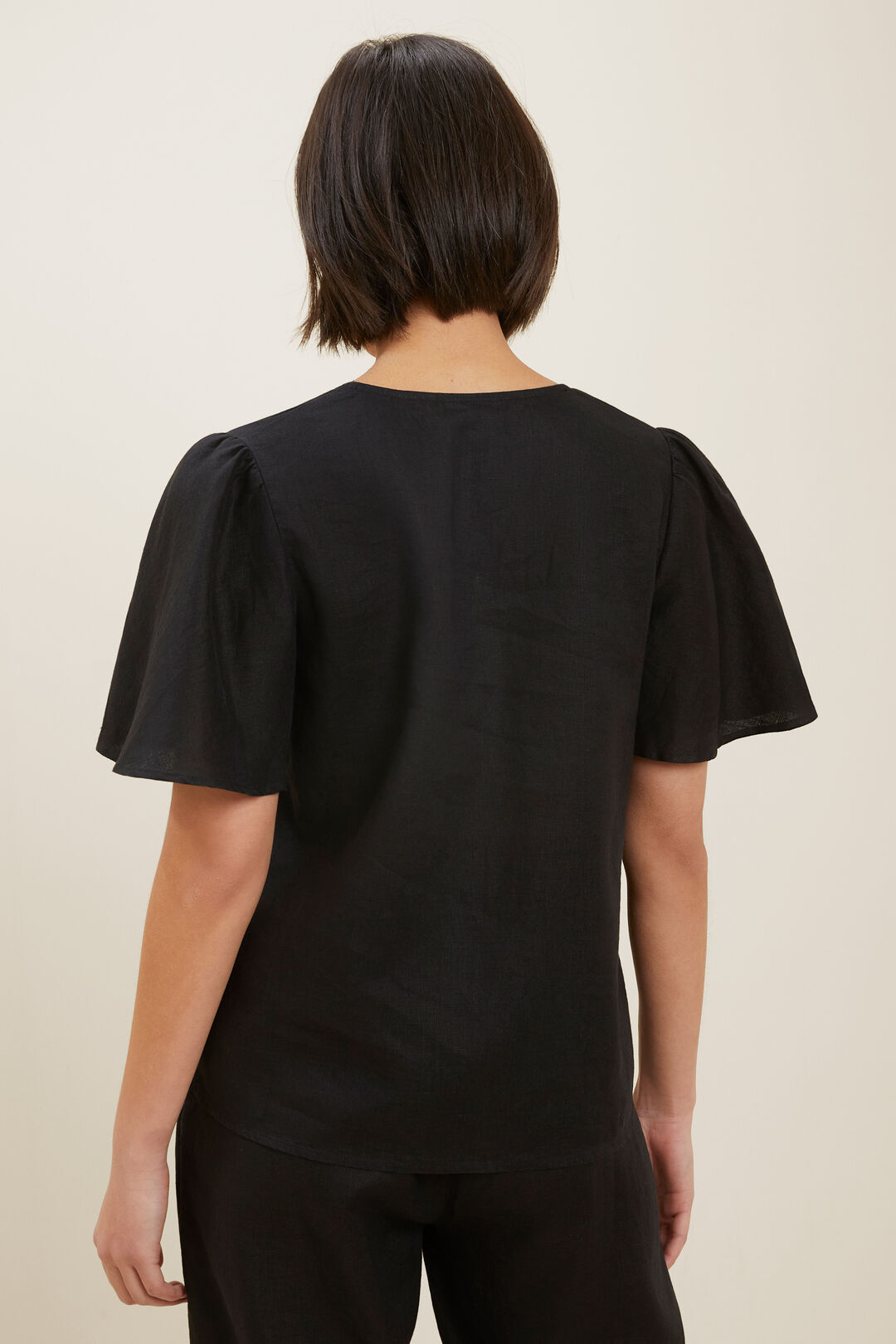 Core Linen Flutter Sleeve Top  Black  hi-res